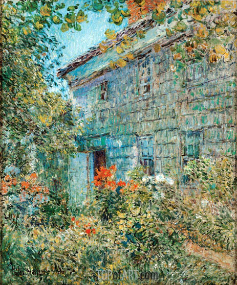 Old House and Garden, East Hampton, 1898 | Hassam | Painting Reproduction