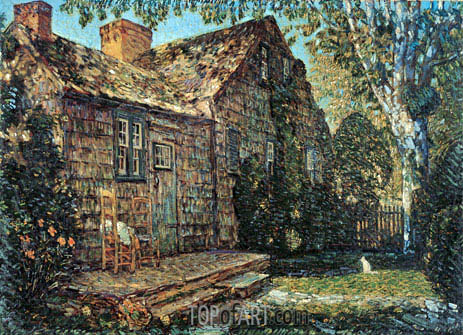 Little Old Cottage, Egypt Lane, East Hampton, 1917 | Hassam | Painting Reproduction