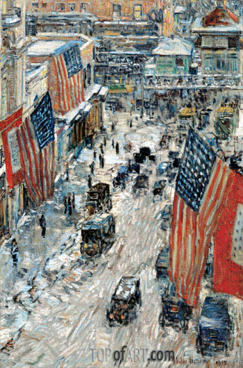 Flags on Fifty-seventh Street, The Winter of 1918, 1918 | Hassam | Painting Reproduction