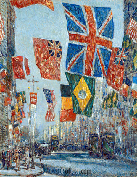 Avenue of the Allies, Great Britain, 1918, 1918 | Hassam | Gemälde Reproduktion