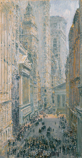 Lower Manhattan (View Down Broad Street), 1907 | Hassam | Painting Reproduction