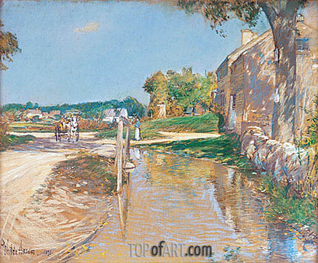 A Country Road, 1891 | Hassam | Gemälde Reproduktion