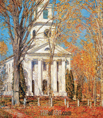 Church at Old Lyme, 1905 | Hassam | Painting Reproduction
