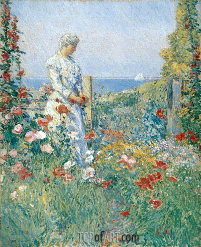 In the Garden (Celia Thaxter in Her Garden), 1892 | Hassam | Painting Reproduction