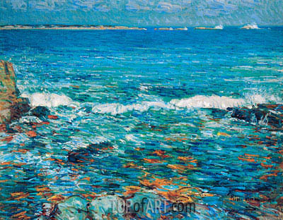 Duck Island from Appledore, 1911 | Hassam | Painting Reproduction