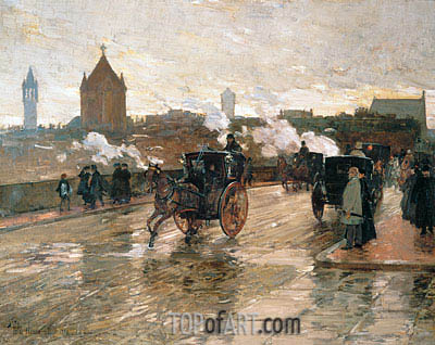 Clearing Sunset (Corner of Berkeley Street and Columbus Avenue), 1890 | Hassam | Painting Reproduction