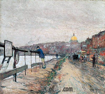 Charles River and Beacon Hill, 1892 | Hassam | Painting Reproduction