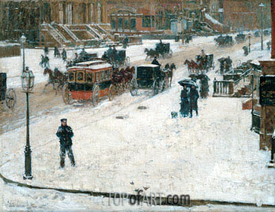 Fifth Avenue in Winter, c.1890 | Hassam | Gemälde Reproduktion