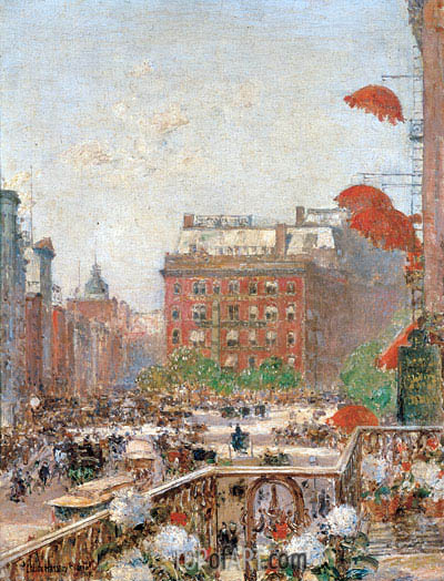 View of Broadway and Fifth Avenue, 1890 | Hassam | Painting Reproduction