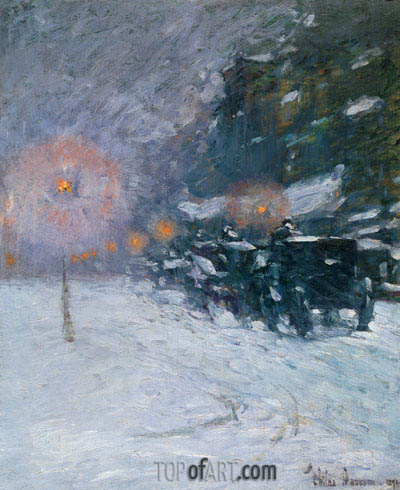 Winter, Midnight, 1894 | Hassam | Painting Reproduction
