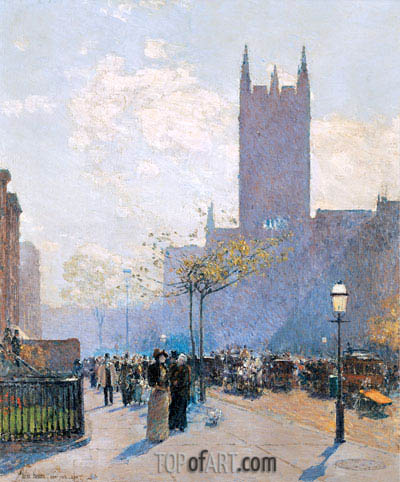 Lower Fifth Avenue, 1890 | Hassam | Gemälde Reproduktion
