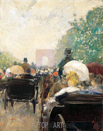 Carriage Parade, 1888 | Hassam | Painting Reproduction