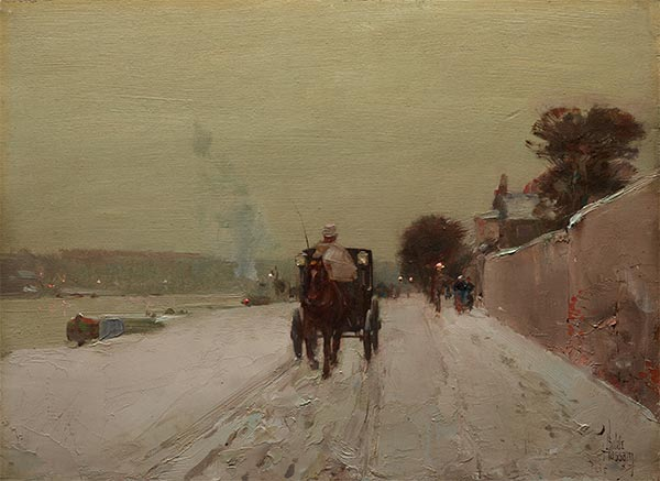 Along the Seine, Winter, 1887 | Hassam | Painting Reproduction