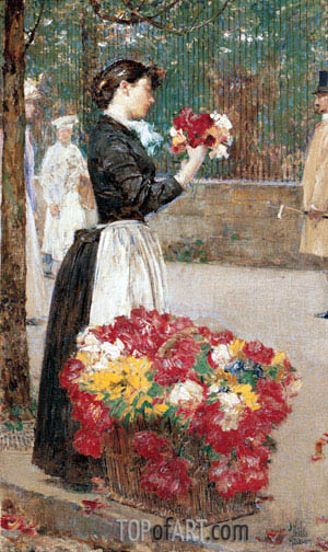 Flower Girl, c.1887/89 | Hassam | Painting Reproduction