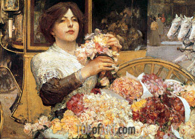 The Rose Girl, c.1888 | Hassam | Painting Reproduction