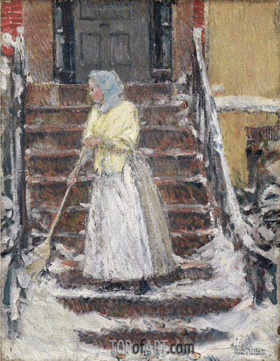 Sweeping Snow, c.1890 | Hassam | Painting Reproduction