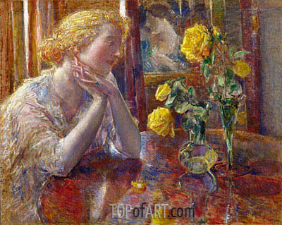 Marechal Niel Roses, 1919 | Hassam | Painting Reproduction