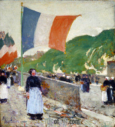 Montmartre: July 14, 1889 | Hassam | Painting Reproduction