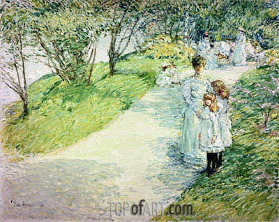 Promenaders in the Garden, 1898 | Hassam | Painting Reproduction