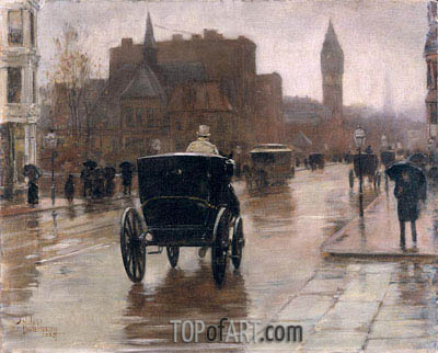 Columbus Avenue, Rainy Day, 1885 | Hassam | Painting Reproduction