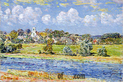 Landscape at Newfields, New Hampshire, 1909 | Hassam | Painting Reproduction