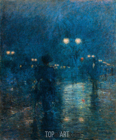 Fifth Avenue Nocturne, c.1895 | Hassam | Painting Reproduction