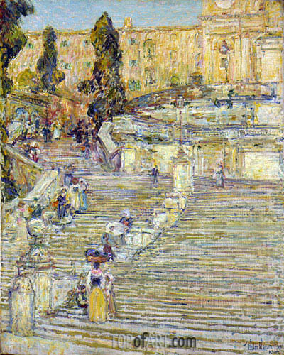 The Spanish Stairs, Rome, 1897 | Hassam | Painting Reproduction