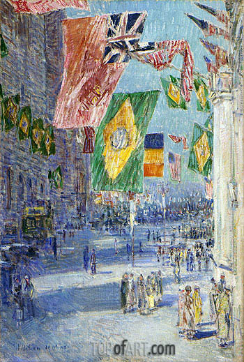 Avenue of the Allies: Brazil, Belgium, 1918, 1918 | Hassam | Painting Reproduction