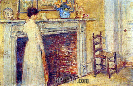 The Fireplace, 1912 | Hassam | Painting Reproduction