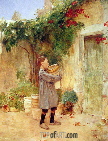 Boy with Flower Pots, 1888 | Hassam | Painting Reproduction