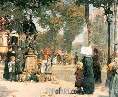 Paris Street Scene, 1887 | Hassam | Painting Reproduction