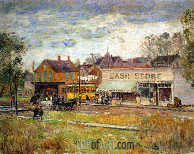 End of the Trolley Line, Oak Park, Illinois, 1893 | Hassam | Painting Reproduction