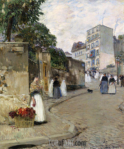 Rue Montmartre, Paris, c.1888 | Hassam | Painting Reproduction