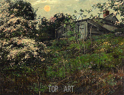 Apple Blossoms and Pink Moon, undated | Hassam | Painting Reproduction
