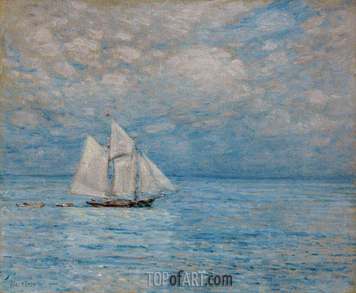 Sailing on Calm Seas, Gloucester Harbor, 1900 | Hassam | Gemälde Reproduktion