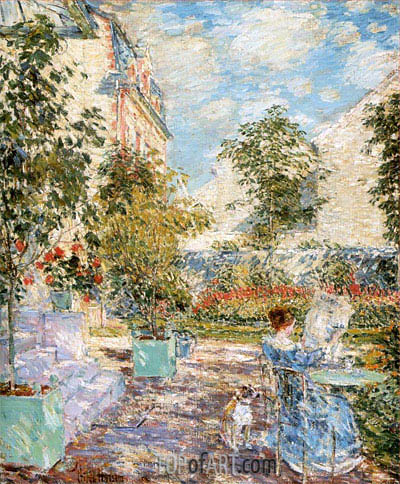 In a French Garden, 1897 | Hassam | Painting Reproduction
