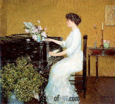 At the Piano, 1908 | Hassam | Painting Reproduction