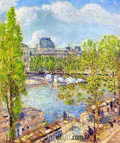 April, Quai Voltaire, Paris, 1897 | Hassam | Painting Reproduction