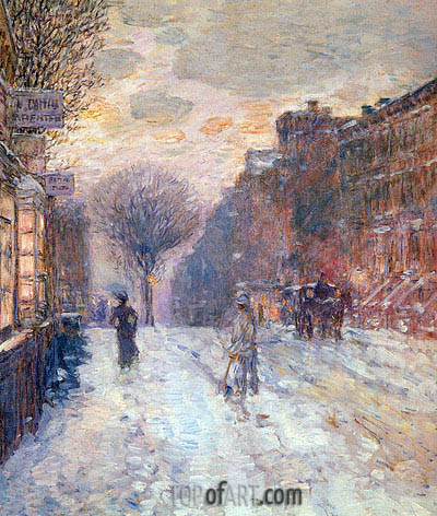 Early Evening After Snowfall, 1906 | Hassam | Gemälde Reproduktion