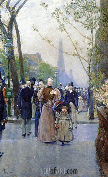 Fifth Avenue aka Sunday on Fifth Avenue, Undated | Hassam | Painting Reproduction