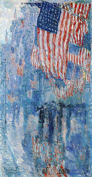 Avenue in the Rain, 1917 | Hassam | Painting Reproduction