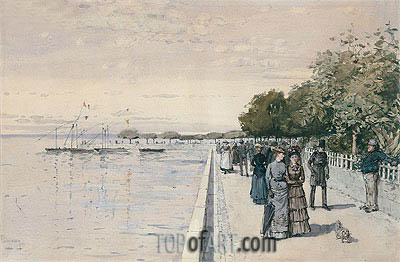 The Beach at Dunkirk, 1883 | Hassam | Painting Reproduction