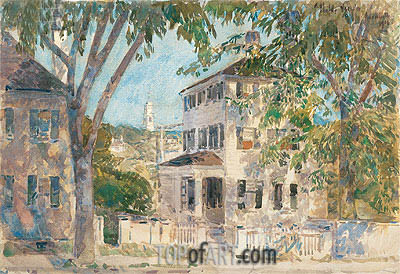 Street in Portsmouth, 1916 | Hassam | Painting Reproduction