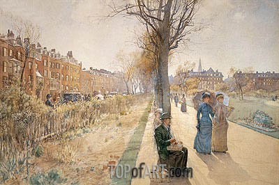 The Public Garden (Boston Common), c.1885 | Hassam | Gemälde Reproduktion