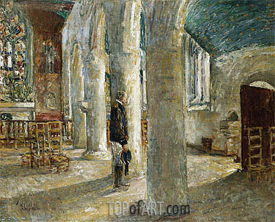 Church Interior, Brittany, 1897 | Hassam | Painting Reproduction