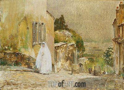 Spring Morning, rue Mt. Cenis, Montmartre, 1889 | Hassam | Painting Reproduction