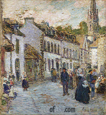Street in Pont Aven - Evening, 1897 | Hassam | Painting Reproduction