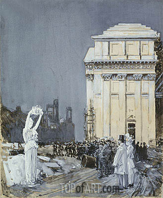 Scene at the World's Columbian Exposition, Chicago, 1892 | Hassam | Painting Reproduction