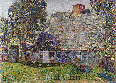 The Old Mulford House, East Hampton, 1917   Hassam   Painting Reproduction
