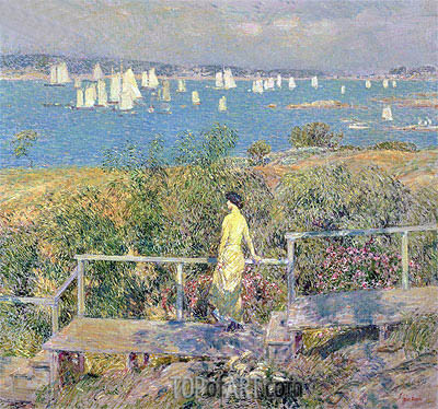 Yachts, Gloucester, 1889 | Hassam | Painting Reproduction